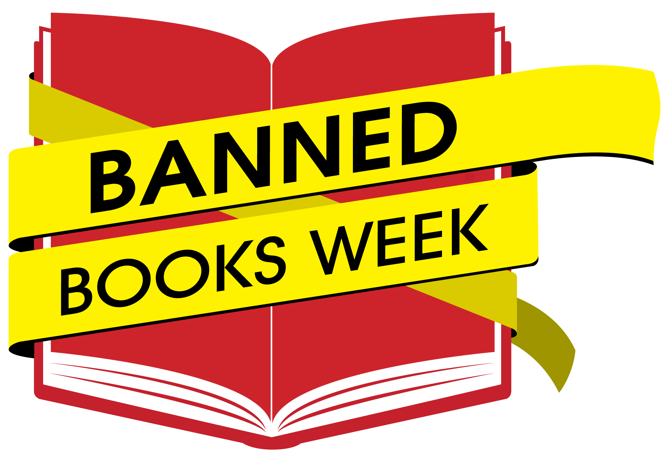 Banned Books Week Logo - a book with yellow caution tape wrapping it up