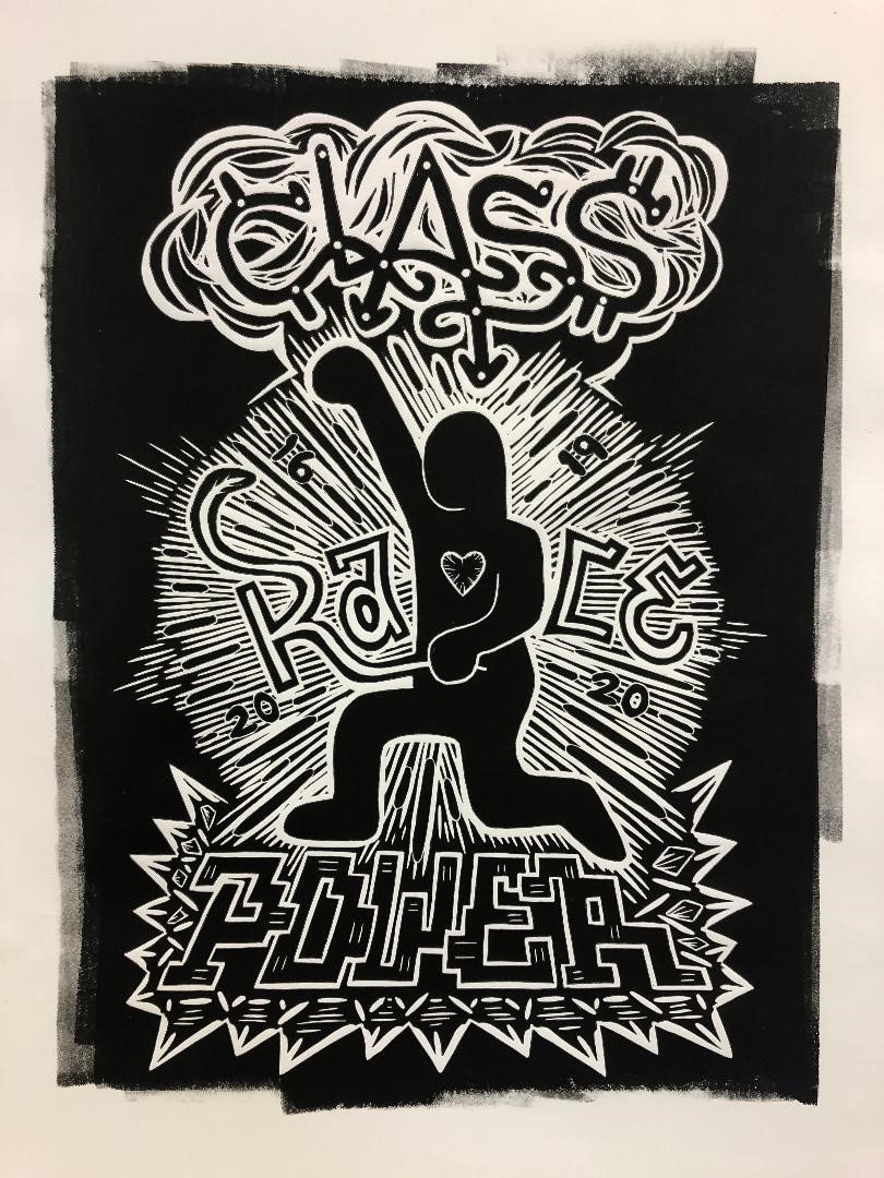 """Moses Ros print """"Rebirth of Our Nation"""" - outline of figure with raised fist and words """"Class Race Power"""""""