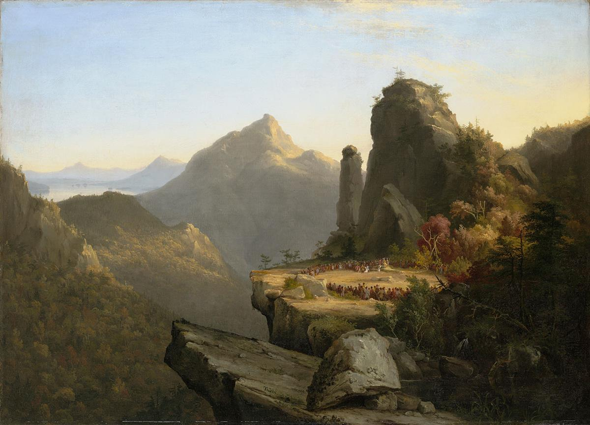 "Thomas Cole (American, 1801-1848). Scene from ""The Last of the Mohicans,"" Cora Kneeling at the Feet of Tamenund."